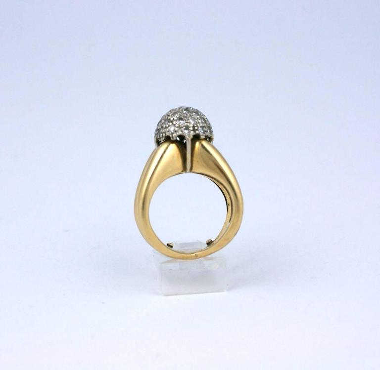 Modernist Pave Diamond Ball Ring In Excellent Condition For Sale In Riverdale, NY