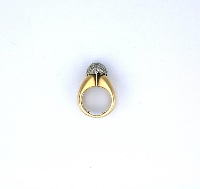 Modernist Pave Diamond Ball Ring For Sale 2