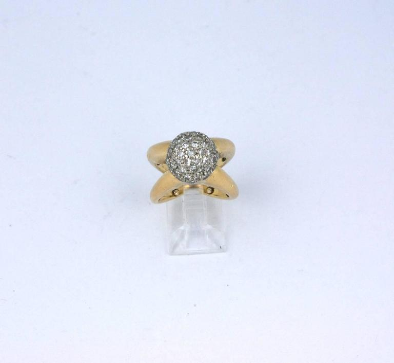 Modernist Pave Diamond Ball Ring For Sale 1