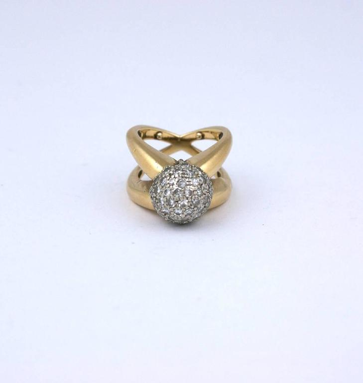 Women's Modernist Pave Diamond Ball Ring For Sale