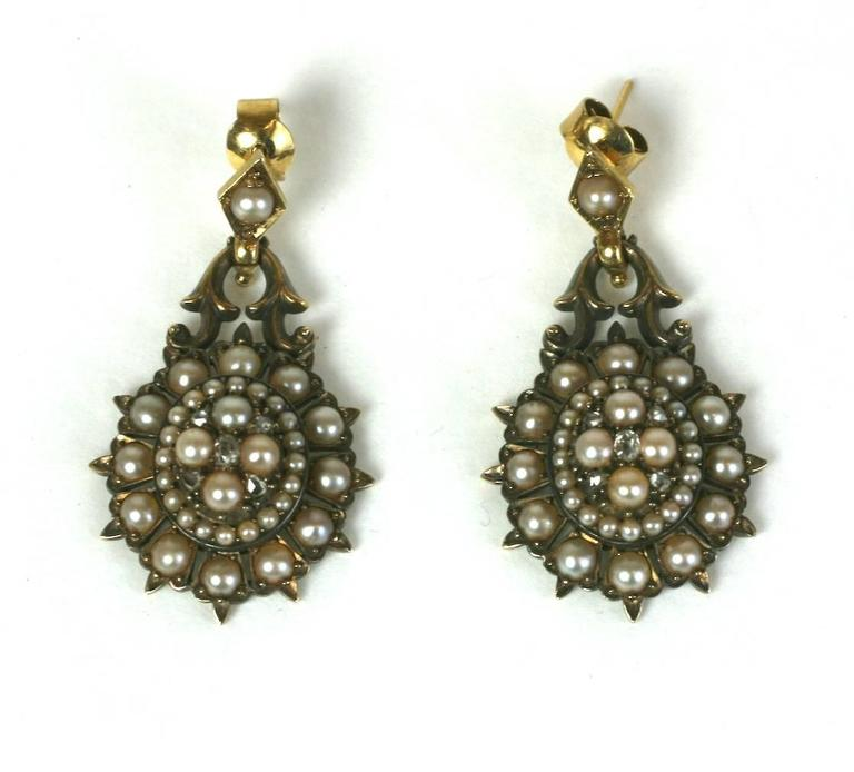 Elegant Victorian Seed Pearl Earrings In Excellent Condition For Riverdale Ny