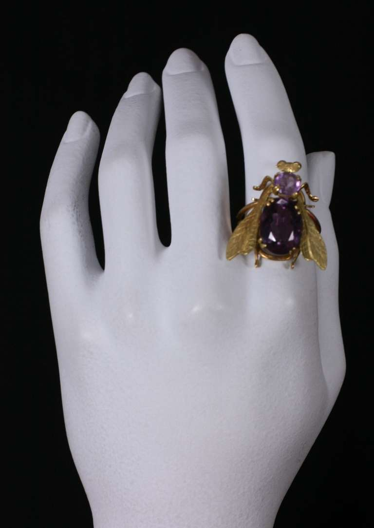 Women's Oversized Amethyst Gold Bee Ring For Sale