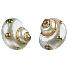 Maz Gold Studded White Turbo Earclips