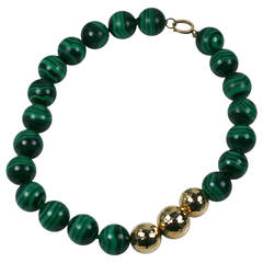 Oversized Malachite Bead Necklace