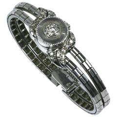 Benkin Ladies White Gold Diamond Bracelet Wristwatch