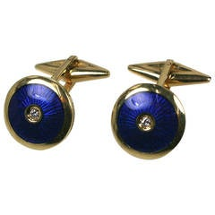 Enamel Diamond Gold Cufflinks
