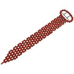 Victorian Coral Gold Link Buckle Bracelet