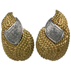 Diamond and Gold Textured Leaf Earclips