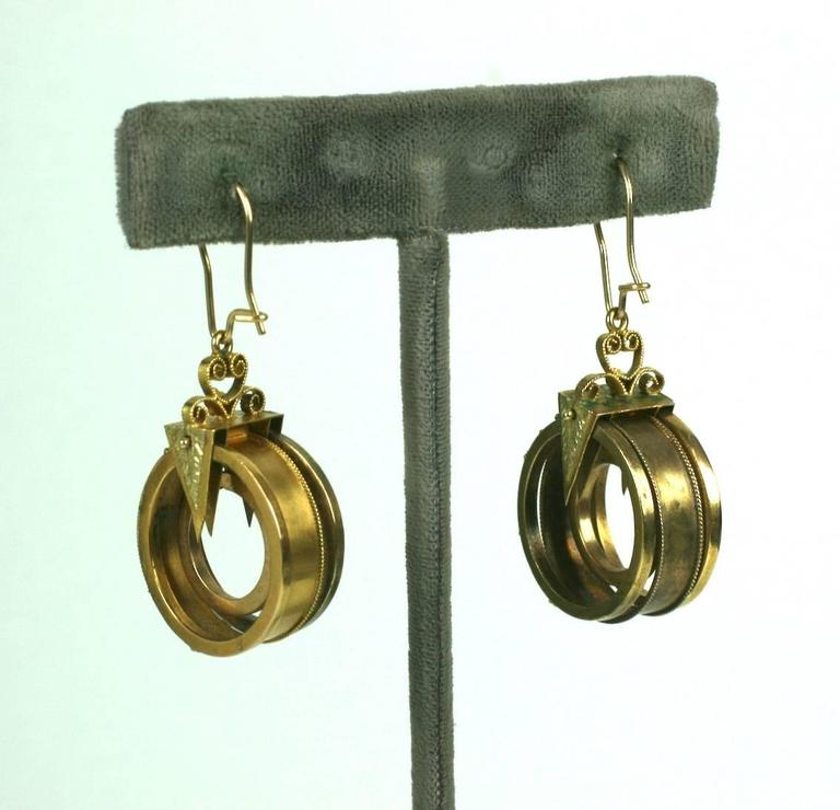 High Victorian Unusual Gold Victorian Revivalist Earrings For Sale