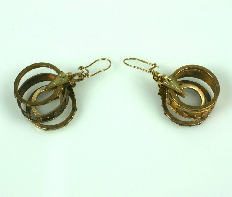 Women's Unusual Gold Victorian Revivalist Earrings For Sale