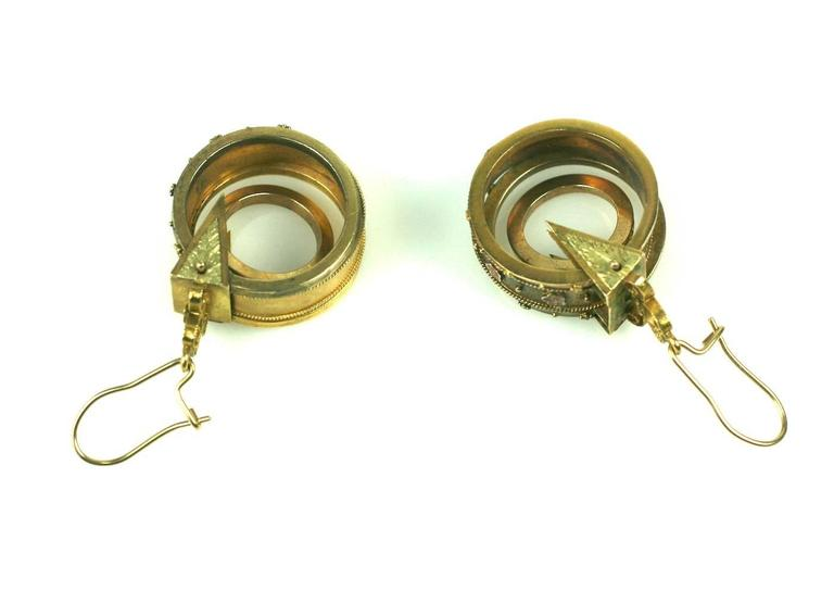 Unusual Gold Victorian Revivalist Earrings In Excellent Condition For Sale In Riverdale, NY