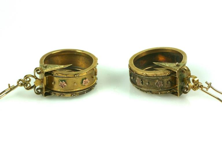 Unusual Gold Victorian Revivalist Earrings For Sale 1