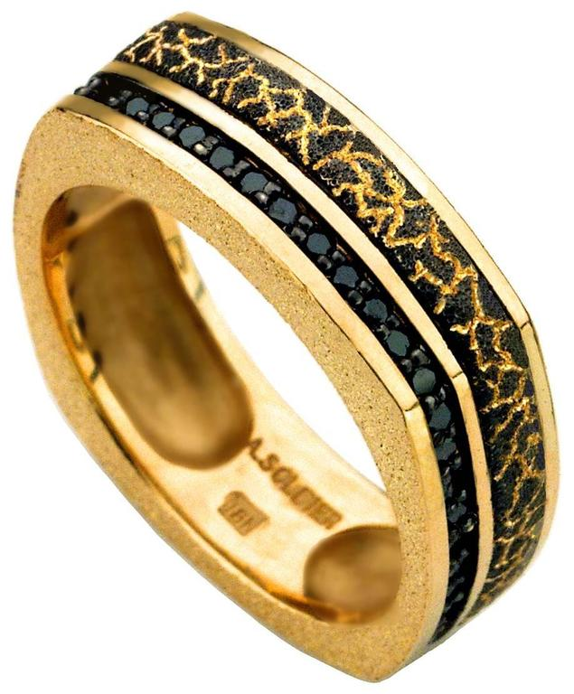Alex Soldier Gold and Black Diamond Lava Ring  Handmade in NYC