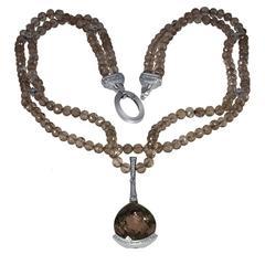 Smoky Topaz Diamond Gold Swan Bead Necklace by Alex Soldier Ltd Ed Handmade
