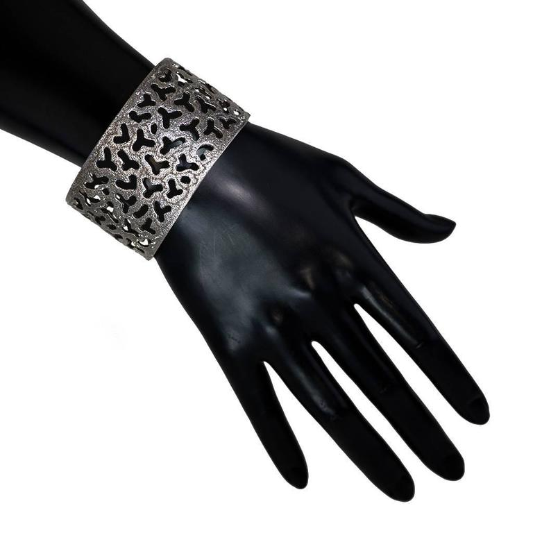 Women's Silver and Dark Platinum Textured Openwork Cuff Bracelet by Alex Soldier. Ltd Ed For Sale