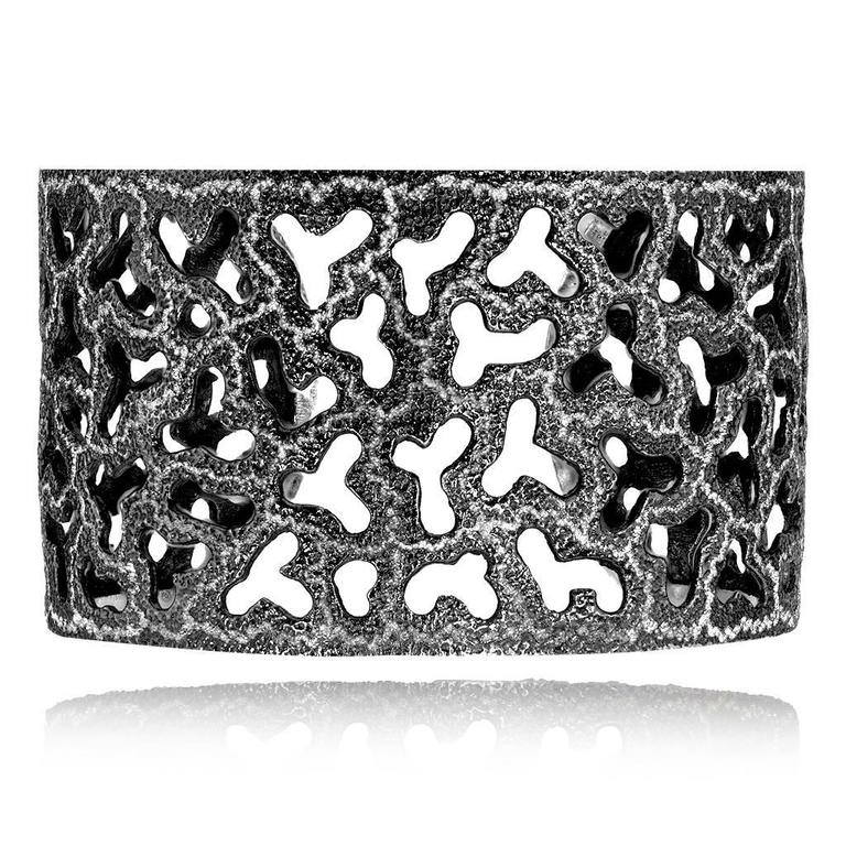 Alex Soldier Open Work Cuff made in silver, infused (deeply plated) with dark platinum (rhodium) and signature metalwork that creates an effect of inner sparkle. Special open work technique makes this stunning cuff super-comfortable to wear.