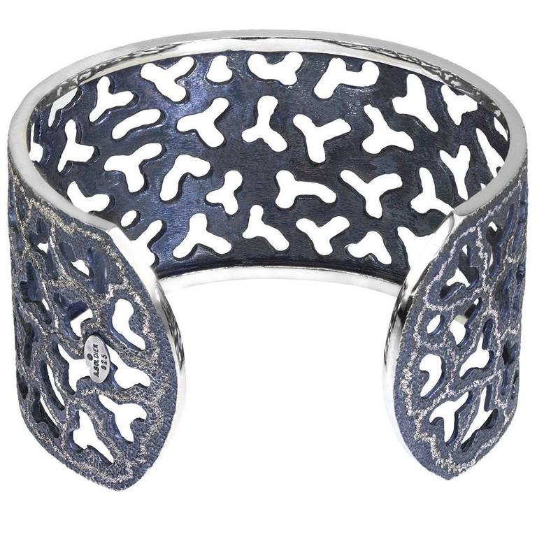 Silver and Dark Platinum Textured Openwork Cuff Bracelet by Alex Soldier. Ltd Ed In As New Condition For Sale In New York, NY