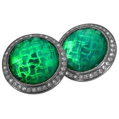 Green Agate & Quartz Doublet w White Topaz Clip-on Earrings in Oxidized Silver