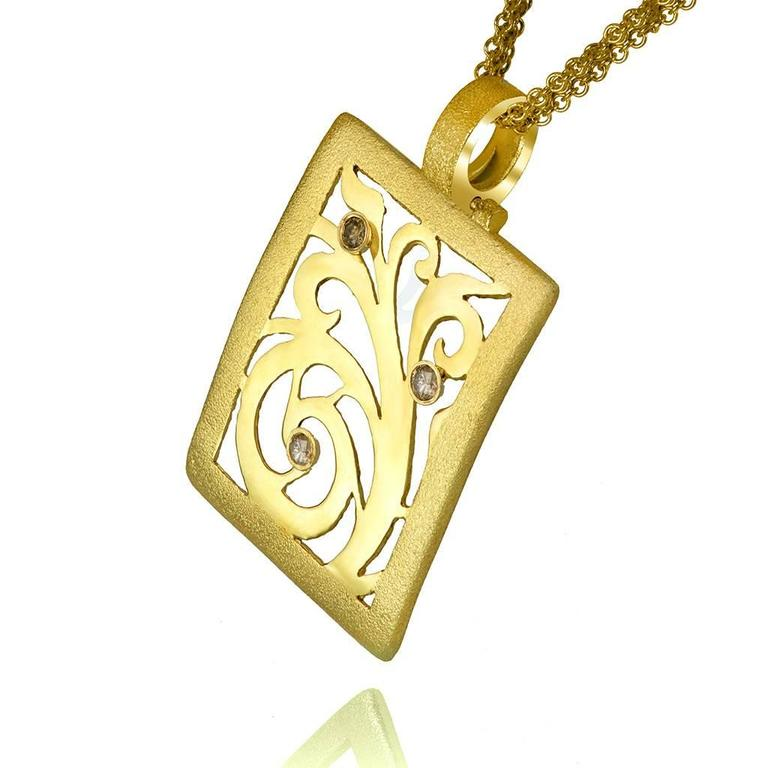 Champagne Diamond Yellow Gold Pendant Necklace One of a kind Handmade in NYC 2