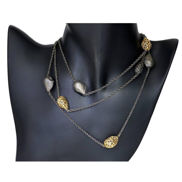 Silver Gold Textured Station Necklace Choker Handmade in NYC Limited Edition 2