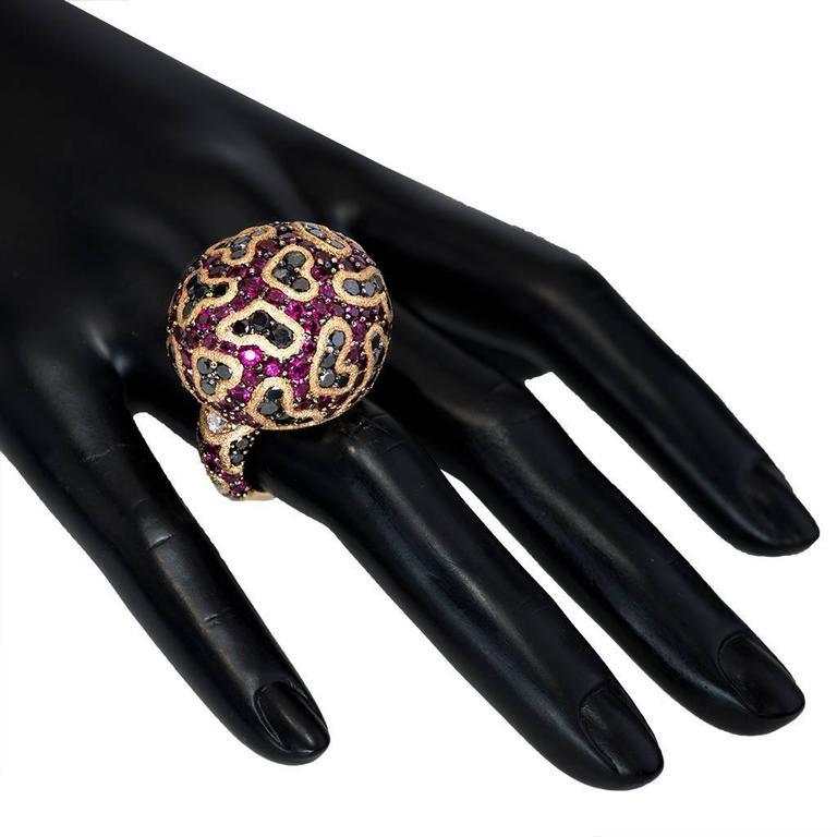 Alex Soldier Ruby Diamond Rose Gold Textured Fine Lace Ring Limited Edition For Sale 3