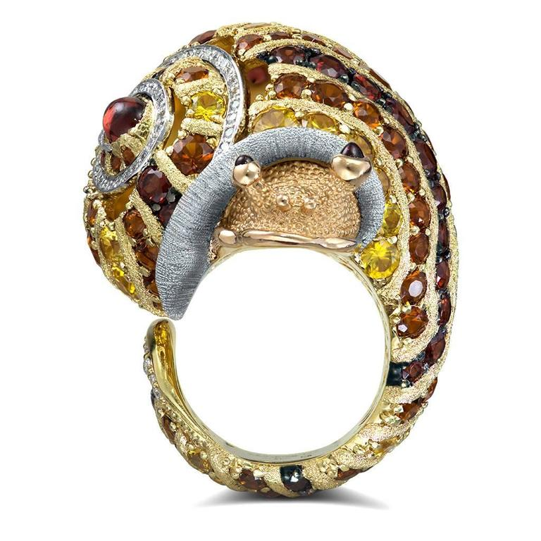 Alex Soldier Diamond Sapphire Ruby Garnet Citrine Platinum Gold Snail Ring 5