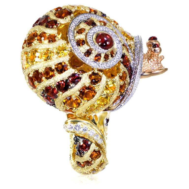 Alex Soldier Diamond Sapphire Ruby Garnet Citrine Platinum Gold Snail Ring 7