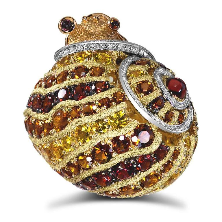 Alex Soldier Diamond Sapphire Ruby Garnet Citrine Platinum Gold Snail Ring 2