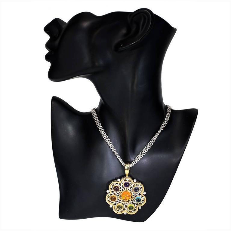 Diamond Garnet Ruby Peridot Topaz Citrine Iolite Amethyst Gold Brooch Pendant 7