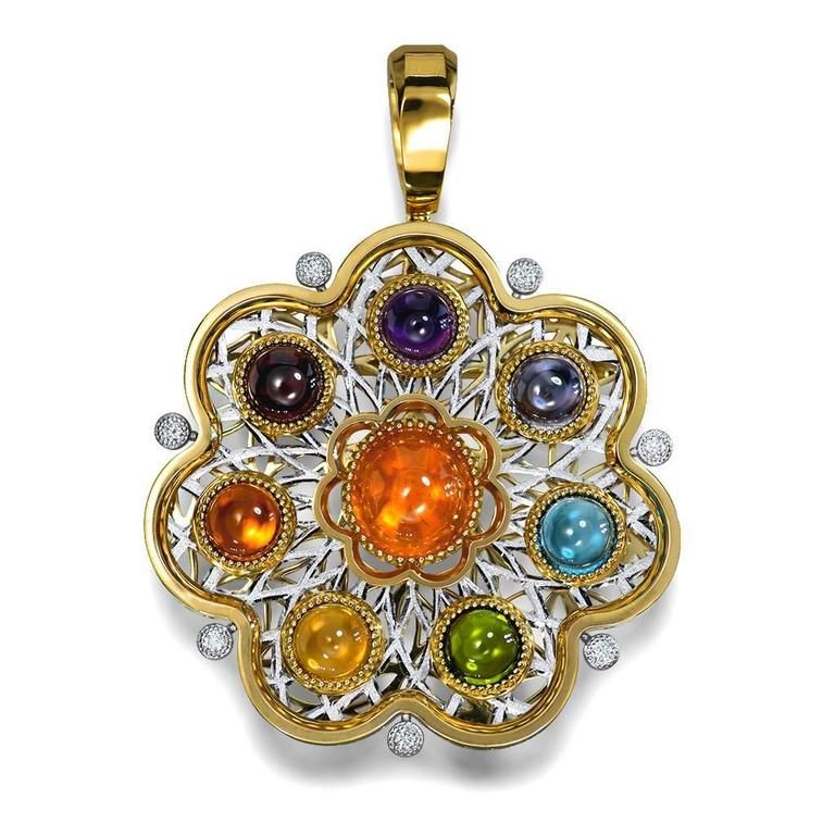 Diamond Garnet Ruby Peridot Topaz Citrine Iolite Amethyst Gold Brooch Pendant In As New Condition For Sale In New York, NY