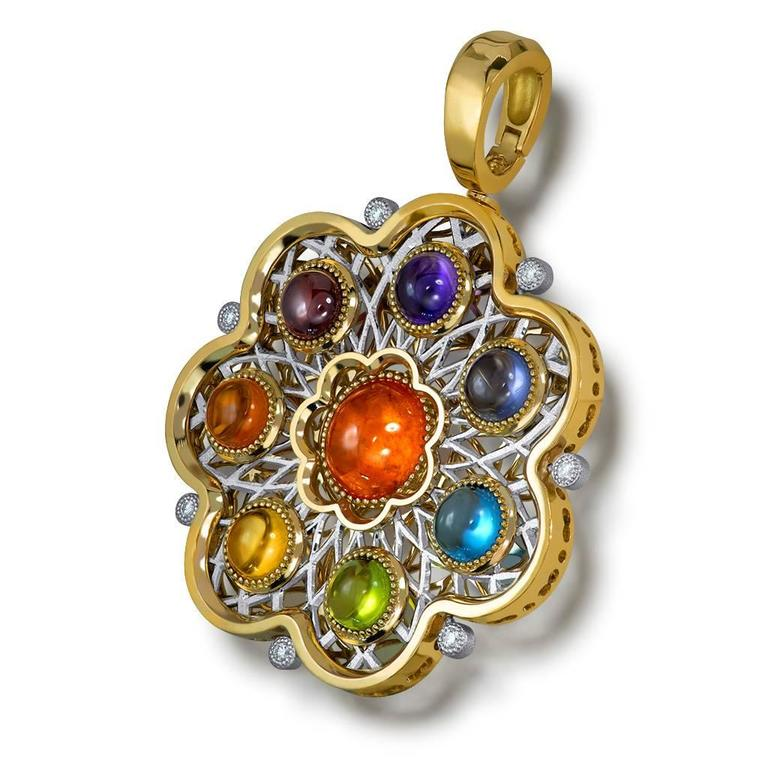 Women's or Men's Diamond Garnet Ruby Peridot Topaz Citrine Iolite Amethyst Gold Brooch Pendant For Sale