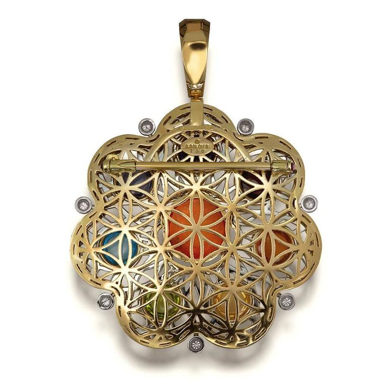 Diamond Garnet Ruby Peridot Topaz Citrine Iolite Amethyst Gold Brooch Pendant 5