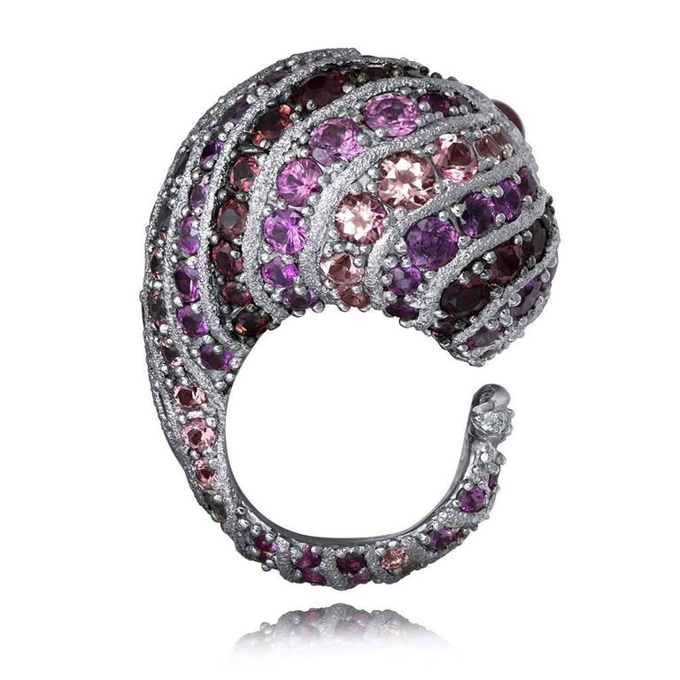 Alex Soldier Sapphire Tourmaline Diamond Topaz Ruby Snail Ring One of a kind    For Sale 2