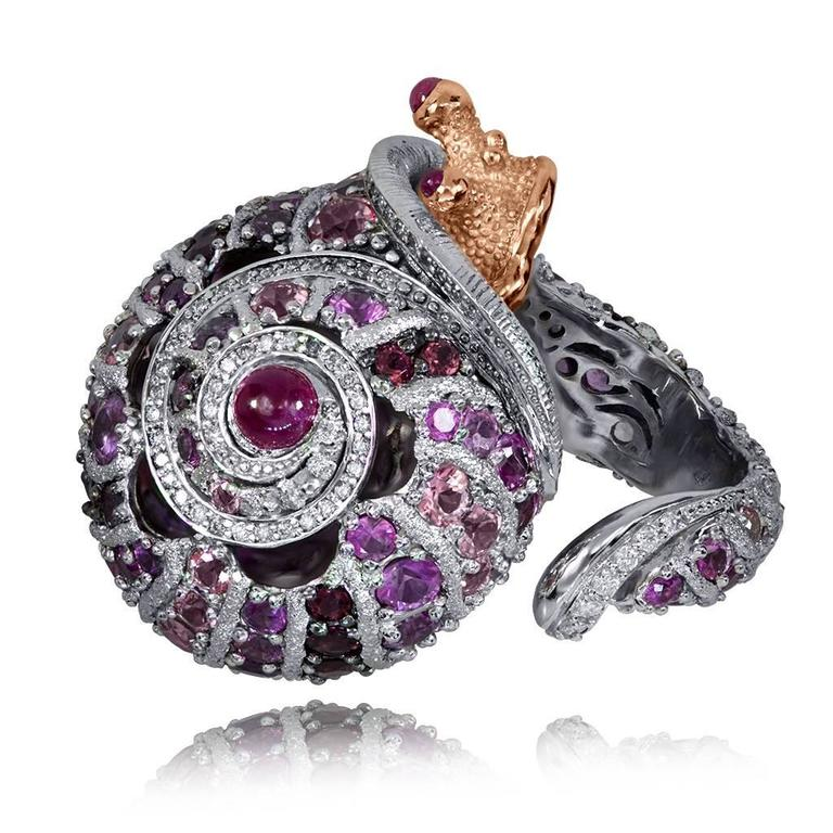 Alex Soldier Sapphire Tourmaline Diamond Topaz Ruby Snail Ring One of a kind    In As New Condition For Sale In New York, NY