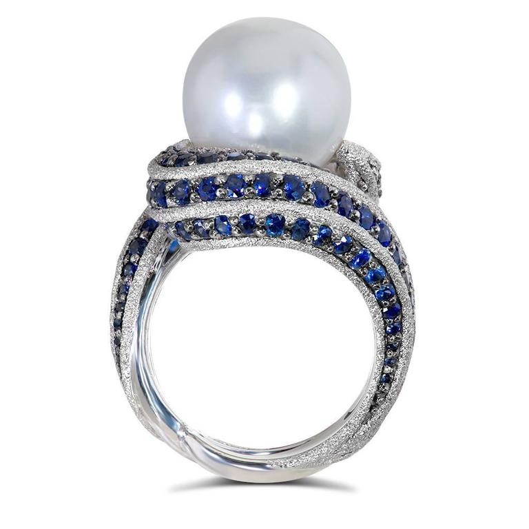 Alex Soldier Blue Sapphire Pearl Gold Textured Ring Limited Edition Handmade 4