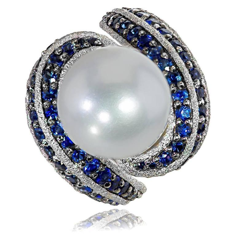 Alex Soldier Blue Sapphire Pearl Gold Textured Ring Limited Edition Handmade 2