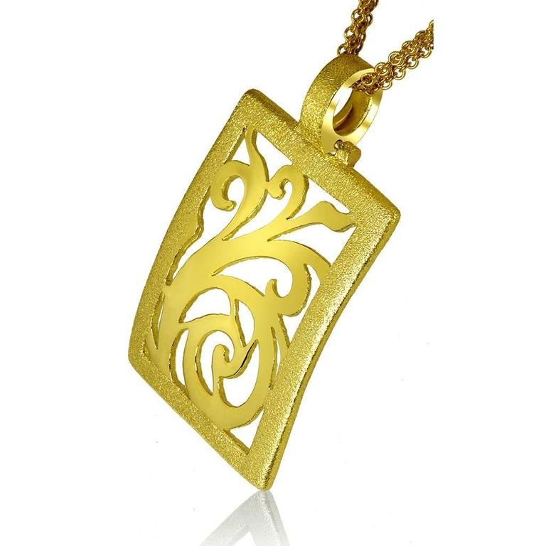 Alex Soldier Yellow Gold Contrast Texture Ornament Pendant One of a kind 2