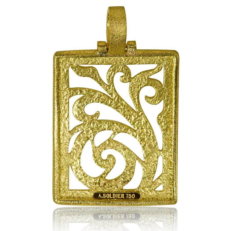 Alex Soldier Yellow Gold Contrast Texture Ornament Pendant One of a kind 3