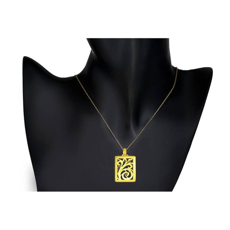 Alex Soldier Diamond Yellow Gold Contrast Texture Pendant One of a kind Handmade 3
