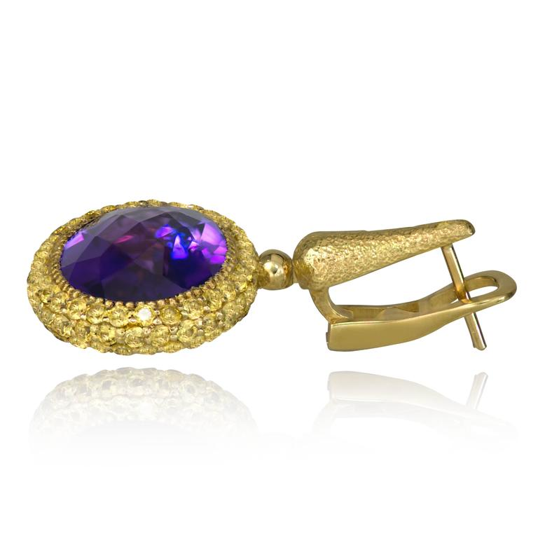 Alex Soldier Amethyst Yellow Sapphire Cocktail Drop Textured Earrings 3