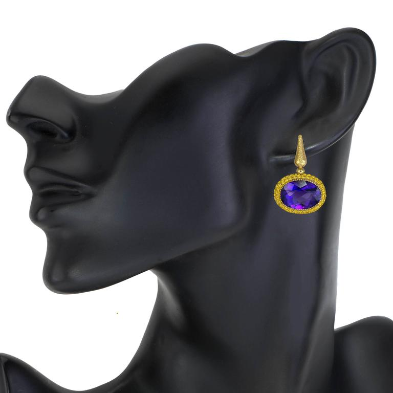 Alex Soldier Amethyst Yellow Sapphire Cocktail Drop Textured Earrings 5