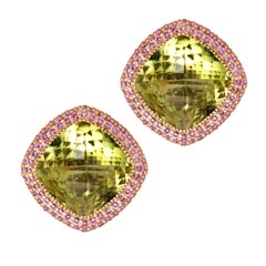 Alex Soldier Lemon Citrine Pink Sapphires Rose Gold Royal Earrings