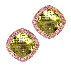 Lemon Citrine Pink Sapphires Rose Gold Royal Earrings One of a Kind Handmade