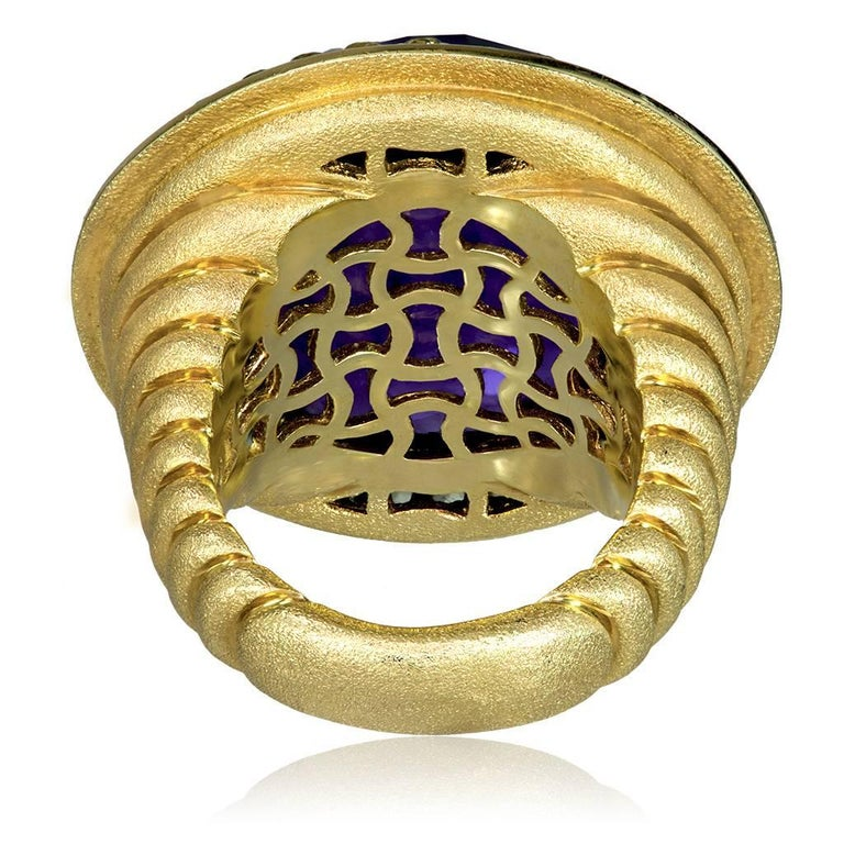 Women's Alex Soldier 40 ct Amethyst Peridot Yellow Gold Symbolica Ring One of a Kind  For Sale