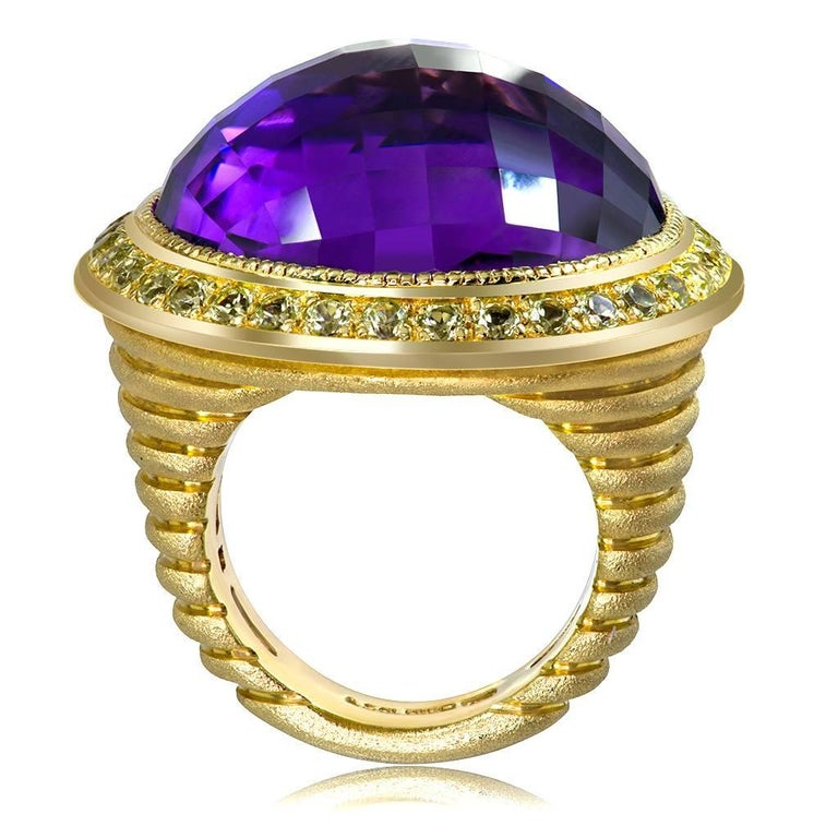Rose Cut Alex Soldier 40 ct Amethyst Peridot Yellow Gold Symbolica Ring One of a Kind  For Sale