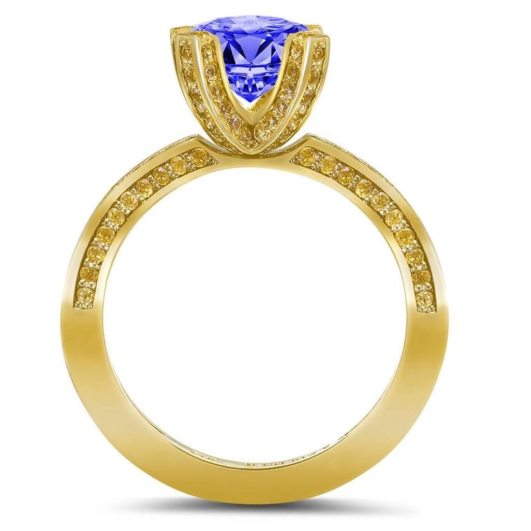 tanzanite garnet yellow gold cocktail engagement ring one