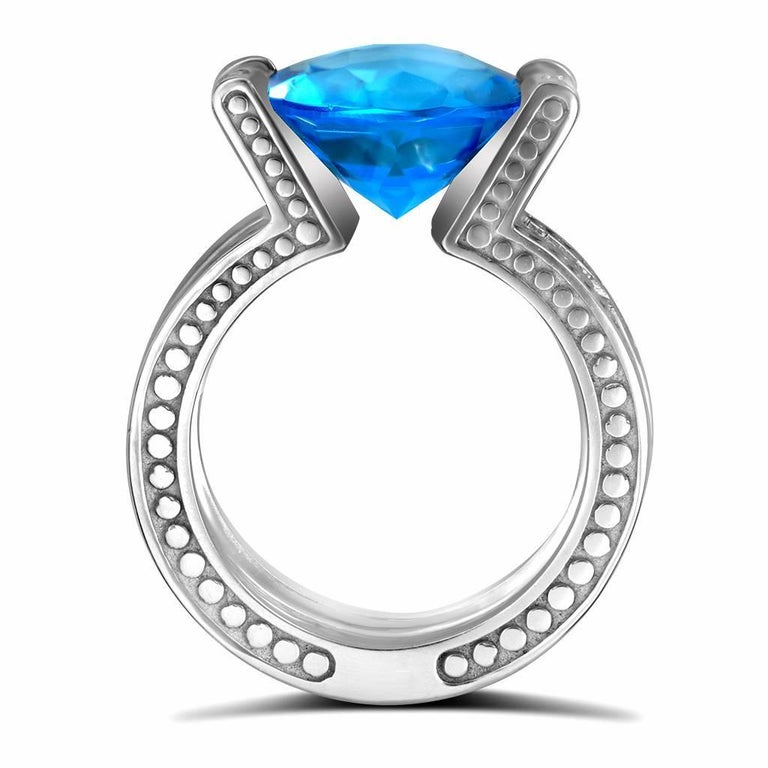 Blue Topaz Diamond White Gold Ring One of a Kind  3