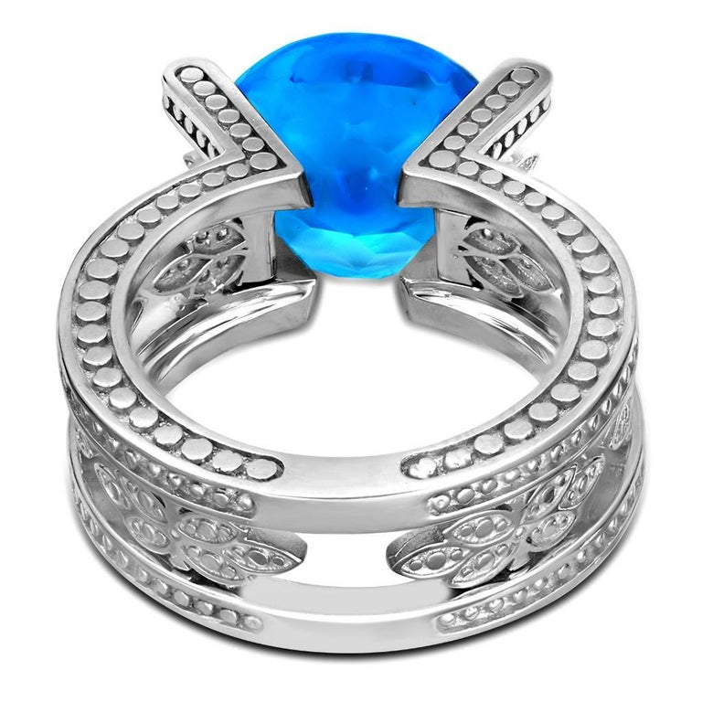 Blue Topaz Diamond White Gold Ring One of a Kind  5