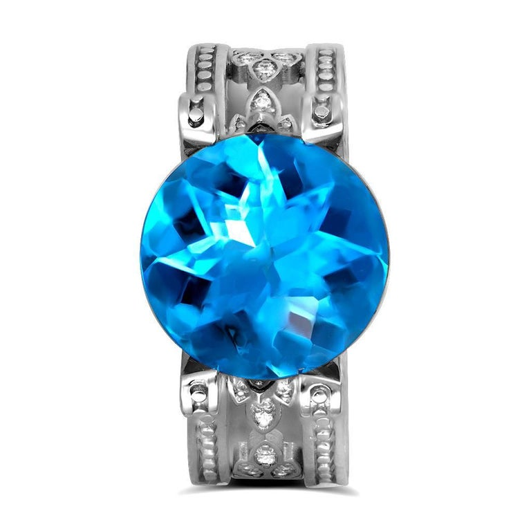 Blue Topaz Diamond White Gold Ring One of a Kind  2