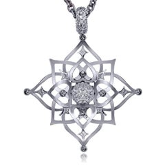 Alex Soldier Diamond White Gold Magic Star Pendant Choker Necklace One of a Kind